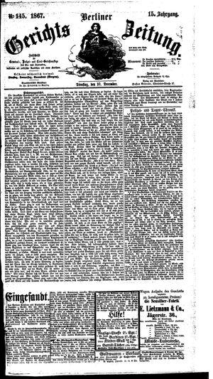 Berliner Gerichts-Zeitung vom 10.12.1867
