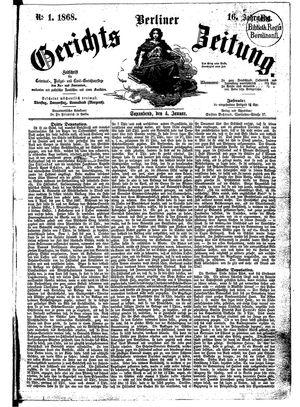 Berliner Gerichts-Zeitung vom 04.01.1868