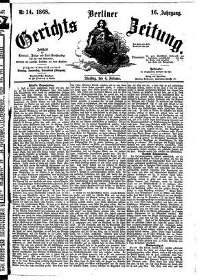 Berliner Gerichts-Zeitung vom 04.02.1868