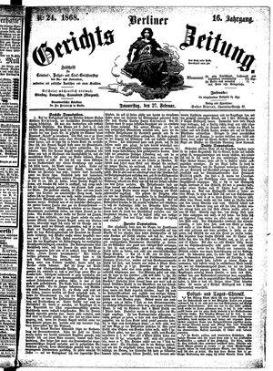 Berliner Gerichts-Zeitung vom 27.02.1868