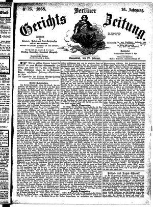 Berliner Gerichts-Zeitung vom 29.02.1868
