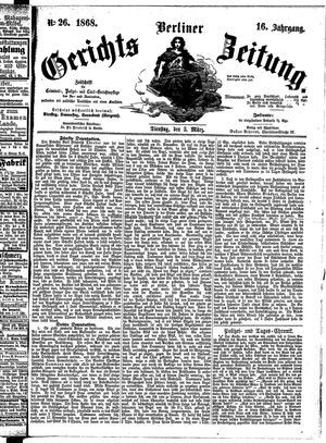 Berliner Gerichts-Zeitung vom 03.03.1868