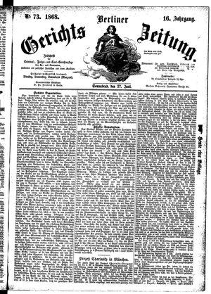 Berliner Gerichts-Zeitung vom 27.06.1868
