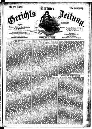 Berliner Gerichts-Zeitung vom 11.08.1868