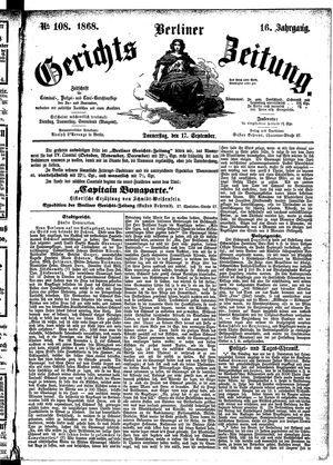 Berliner Gerichts-Zeitung vom 17.09.1868