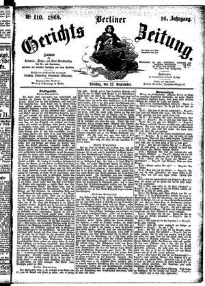Berliner Gerichts-Zeitung vom 22.09.1868