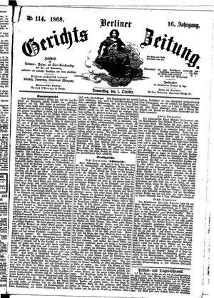 Berliner Gerichts-Zeitung vom 01.10.1868