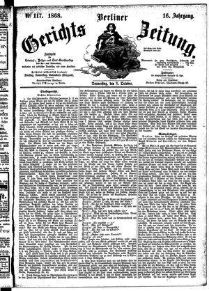 Berliner Gerichts-Zeitung vom 08.10.1868