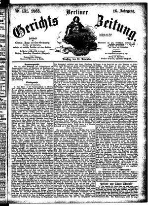Berliner Gerichts-Zeitung vom 10.11.1868