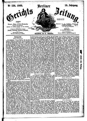 Berliner Gerichts-Zeitung vom 21.11.1868