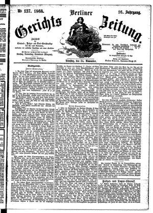 Berliner Gerichts-Zeitung vom 24.11.1868