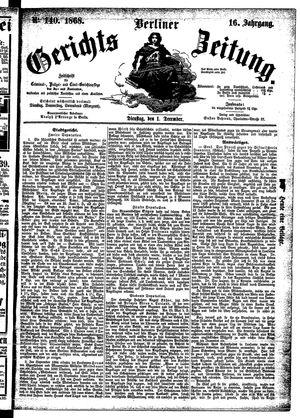 Berliner Gerichts-Zeitung vom 01.12.1868
