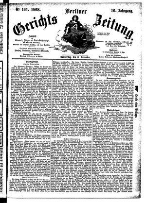 Berliner Gerichts-Zeitung vom 03.12.1868