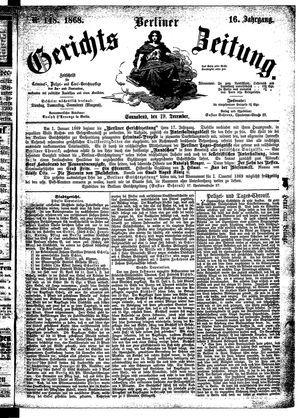 Berliner Gerichts-Zeitung vom 19.12.1868