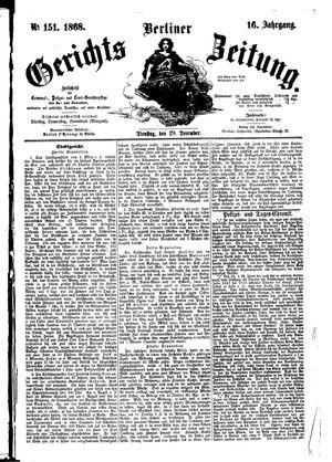 Berliner Gerichts-Zeitung vom 29.12.1868