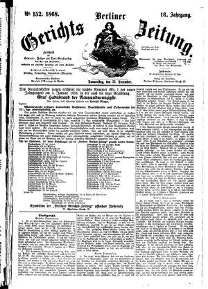 Berliner Gerichts-Zeitung vom 31.12.1868