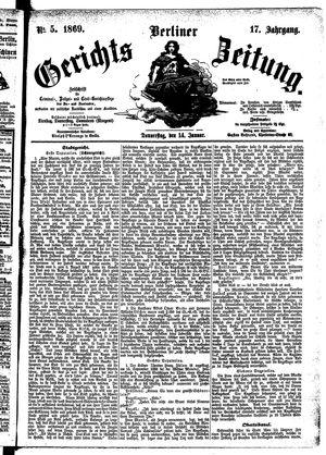 Berliner Gerichts-Zeitung vom 14.01.1869