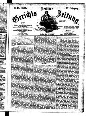 Berliner Gerichts-Zeitung vom 02.02.1869