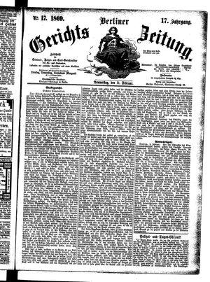 Berliner Gerichts-Zeitung vom 11.02.1869