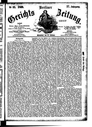 Berliner Gerichts-Zeitung vom 20.02.1869