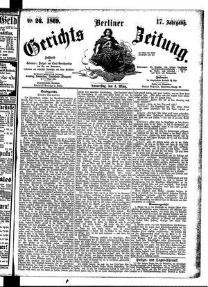Berliner Gerichts-Zeitung vom 04.03.1869