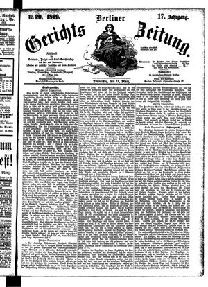 Berliner Gerichts-Zeitung vom 11.03.1869