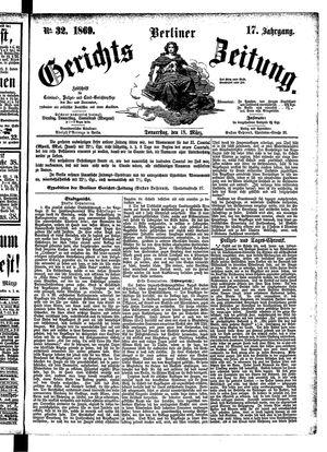 Berliner Gerichts-Zeitung vom 18.03.1869