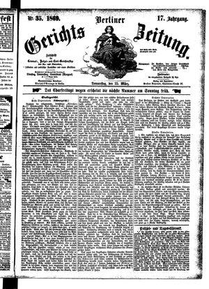 Berliner Gerichts-Zeitung vom 25.03.1869