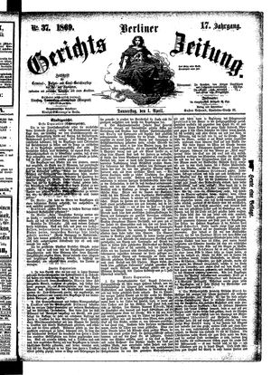 Berliner Gerichts-Zeitung vom 01.04.1869