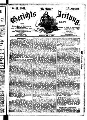 Berliner Gerichts-Zeitung vom 10.04.1869