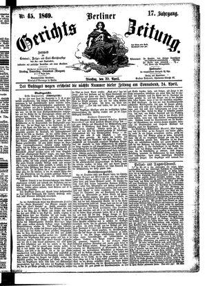 Berliner Gerichts-Zeitung vom 20.04.1869