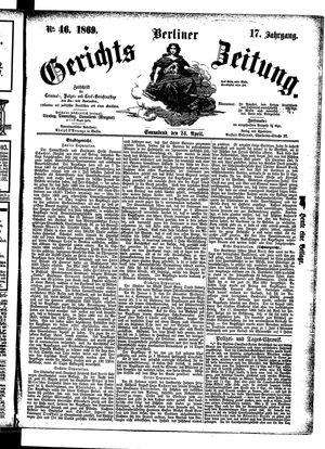 Berliner Gerichts-Zeitung vom 24.04.1869