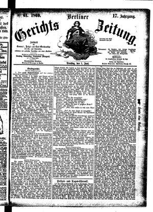 Berliner Gerichts-Zeitung vom 01.06.1869
