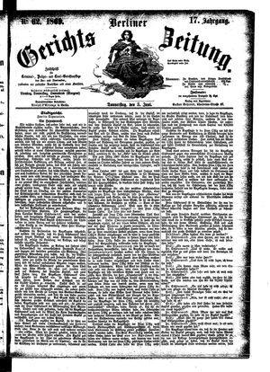 Berliner Gerichts-Zeitung vom 03.06.1869