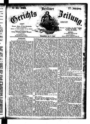 Berliner Gerichts-Zeitung vom 05.06.1869