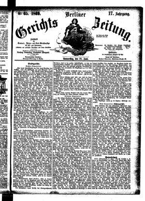 Berliner Gerichts-Zeitung vom 10.06.1869