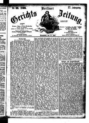 Berliner Gerichts-Zeitung vom 19.06.1869