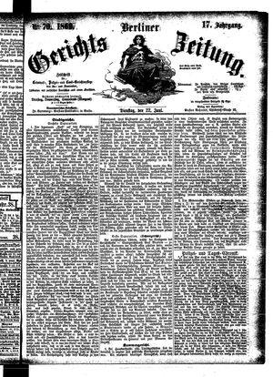 Berliner Gerichts-Zeitung vom 22.06.1869