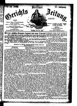Berliner Gerichts-Zeitung vom 29.06.1869