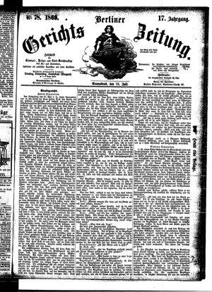 Berliner Gerichts-Zeitung vom 10.07.1869
