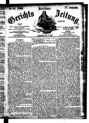 Berliner Gerichts-Zeitung vom 17.07.1869