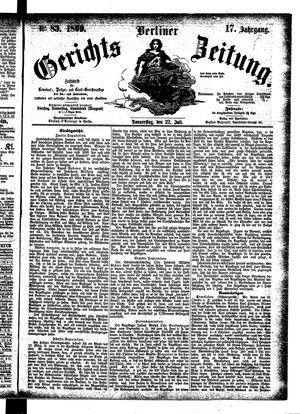 Berliner Gerichts-Zeitung vom 22.07.1869