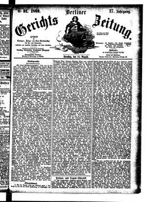Berliner Gerichts-Zeitung vom 10.08.1869