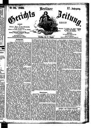 Berliner Gerichts-Zeitung vom 17.08.1869