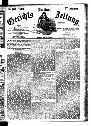 Berliner Gerichts-Zeitung vom 31.08.1869
