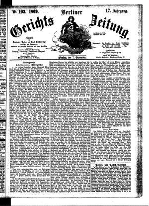 Berliner Gerichts-Zeitung vom 07.09.1869