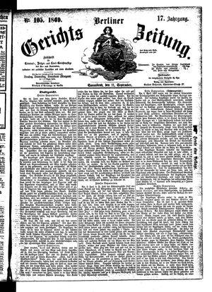 Berliner Gerichts-Zeitung vom 11.09.1869