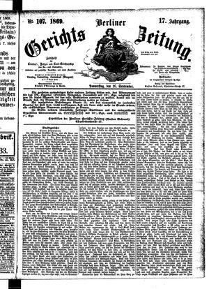 Berliner Gerichts-Zeitung vom 16.09.1869