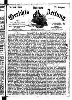 Berliner Gerichts-Zeitung vom 18.09.1869