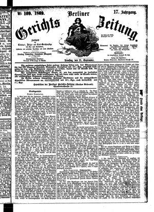 Berliner Gerichts-Zeitung vom 21.09.1869